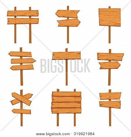Cartoon Wooden Arrows. Blank Wood Signboards And Arrow Signs. Isolated Road Direction Signpost Vecto