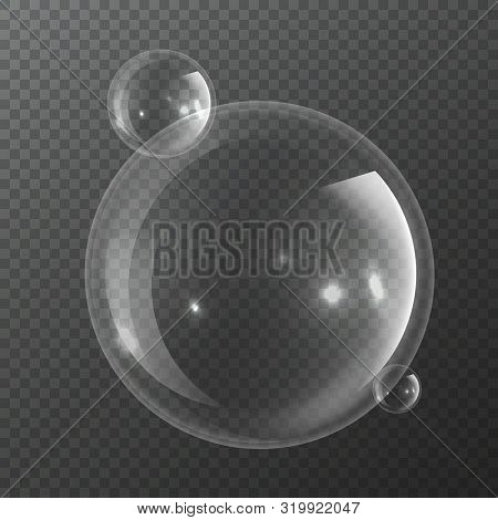 Bubble Molecules. Macro Fresh Bubbly Nature Realistic Transparency Pure Water Or Transparent Liquid
