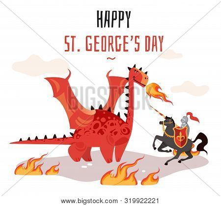 Georges Day. Cartoon Tradition Happy Saint George S Green Card With Dragon And Medieval Tale Legend