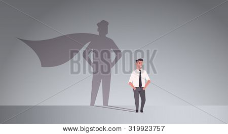 Businessman Dreaming About Being Super Hero Shadow Of Man With Cape Imagination Aspiration Concept M