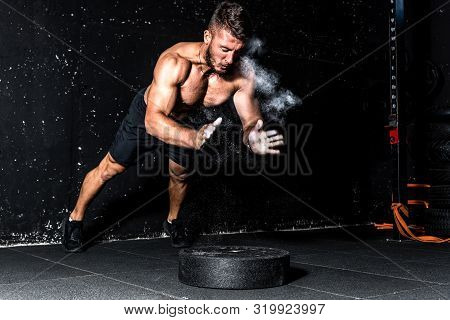 Clap Push Ups, Young Muscular Man With Big Sweaty Muscles Doing Push Ups Workout Training With Clap