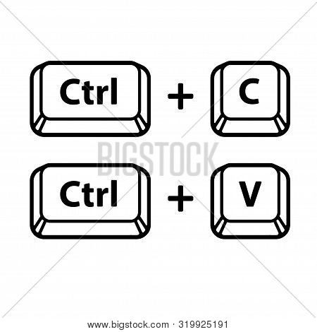 Ctrl C, Ctrl V Keyboard Buttons, Copy And Paste Key Shortcut. Black And White Computer Icons, Vector