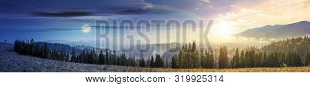 Day And Night Time Change In Mountains With Forest On Meadow. Beautiful Autumn Weather. Clouds And F