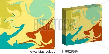 The Style Of Ebru. Green, Yellow, Blue And Brown Colors. Hand Drawn Vector Background. Fashionable P