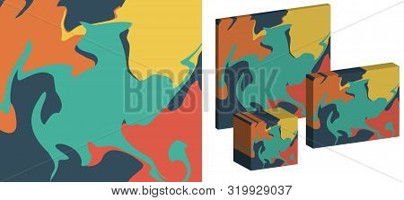 The Style Of Ebru. Green, Orange, Yellow And Pink Colors. Hand Drawn Vector Background. Fashionable
