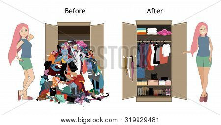 Before Untidy And After Tidy Wardrobe With A Girl. A Lot Of Cheap, Unfashionable, Old Messy Clothes