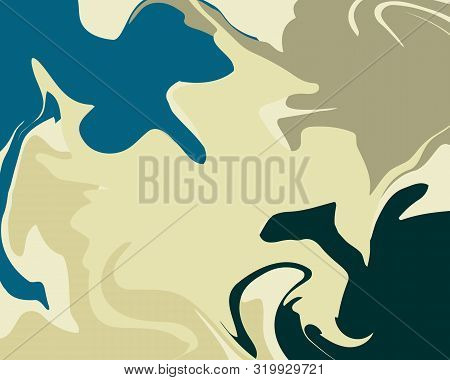 The Style Of Ebru. Green And Blue Colors. Hand Drawn Vector Background. Fashionable Print For Textil