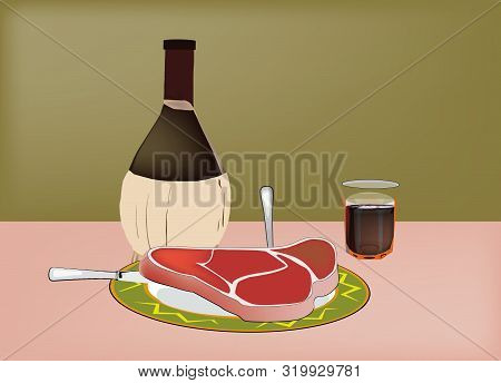 Florentine Meat Steak With Wine Flask Florentine Meat Steak With Wine Flask