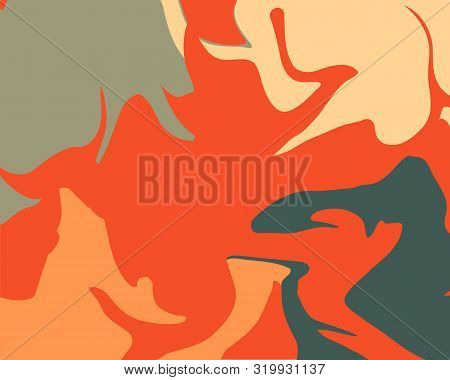 The Style Of Ebru. Beige, Orange And Gray Colors. Hand Drawn Vector Background. Fashionable Print Fo