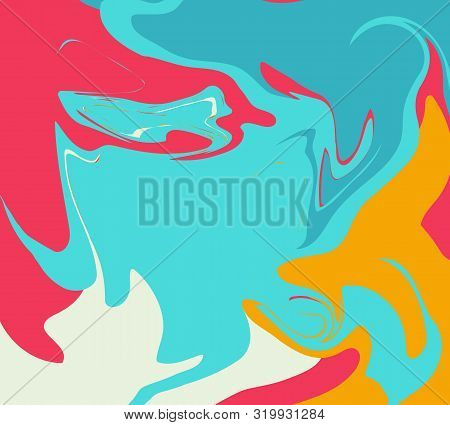 The Style Of Ebru. Blue, Orange And Pink Colors. Hand Drawn Vector Background. Fashionable Print For