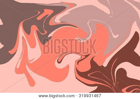 The Style Of Ebru. Brown, Orange And Pink Colors. Hand Drawn Vector Background. Fashionable Print Fo