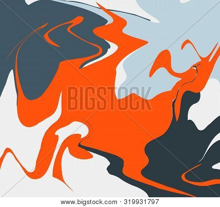 The Style Of Ebru. Blue, Orange And White Colors. Hand Drawn Vector Background. Fashionable Print Fo
