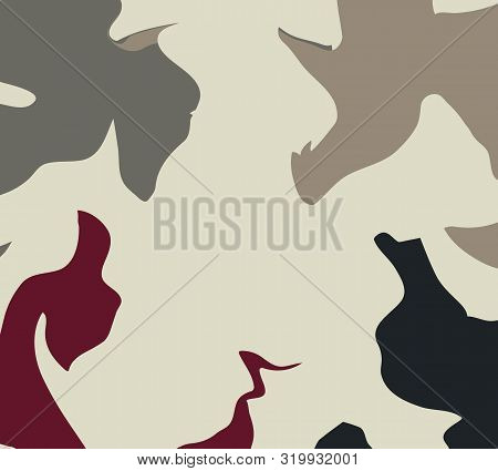 The Style Of Ebru. Gray, Red And Light Colors. Hand Drawn Vector Background. Fashionable Print For T