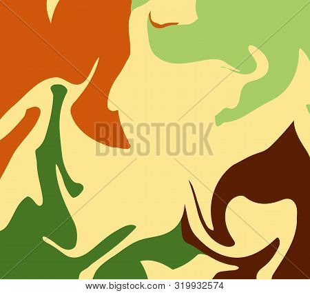 The Style Of Ebru. Green, Orange, Beige And Beige Colors. Hand Drawn Vector Background. Fashionable