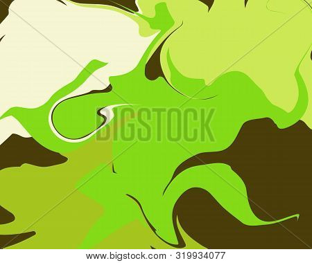 The Style Of Ebru. Green, Brown And White Colors. Hand Drawn Vector Background. Fashionable Print Fo