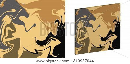 The Style Of Ebru. Green, Brown And Beige Colors. Hand Drawn Vector Background. Fashionable Print Fo