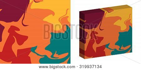 The Style Of Ebru. Green, Orange And Red Colors. Hand Drawn Vector Background. Fashionable Print For
