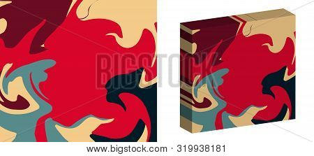 The Style Of Ebru. Red, Blue, Beige And Pink Colors. Hand Drawn Vector Background. Fashionable Print