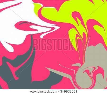 The Style Of Ebru. Green, White And Pink Colors. Hand Drawn Vector Background. Fashionable Print For