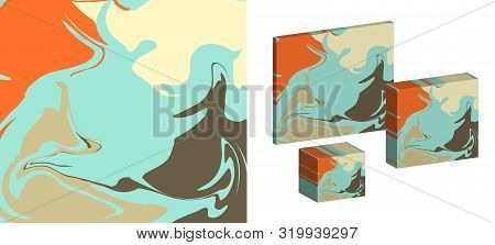 The Style Of Ebru. Blue, Orange And Yellow Colors. Hand Drawn Vector Background. Fashionable Print F