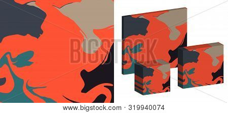 The Style Of Ebru. Green, Orange And Beige Colors. Hand Drawn Vector Background. Fashionable Print F