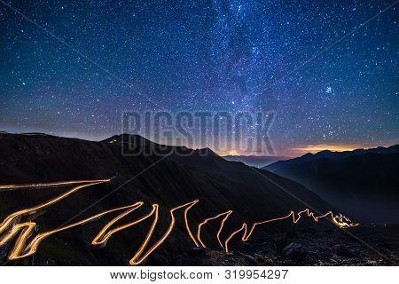 Passo Dello Stelvio - Stelvio Pass In Italy, Ortler Alps, Italy - Curvy Road Through Mountains At Ni
