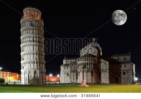 Basilica and the Leaning Tower on the Piazza dei Miracoli in Pisa, Italy