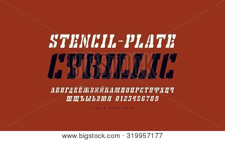 Cyrillic Italic Stencil-plate Serif Font In The Western Style. Letters And Numbers For Logo And Titl