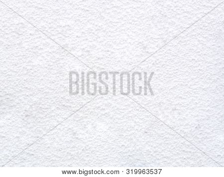Texture Of Concrete Wall With Decorative Plaster - Photo. White Colour. Granularity, Roughness. Faca