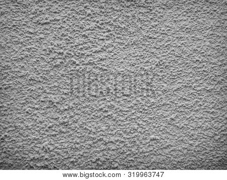 Texture Of Concrete Wall With Decorative Plaster - Photo. Color Is Gray. Granularity, Roughness. Fac