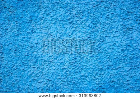 Texture Of Concrete Wall With Decorative Plaster - Photo. Color Is Blue. Granularity, Roughness. Fac
