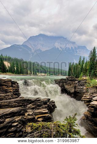 Magnificent Athabasca Falls In  In The Rocky Mountains, Jasper National Park, Alberta, Canada.