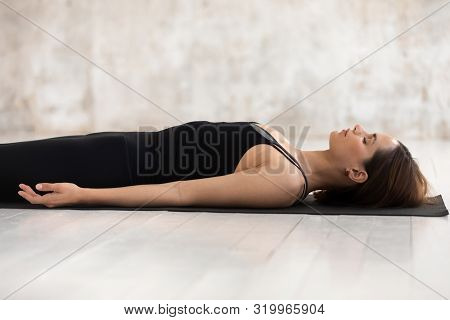Woman Practicing Yoga, Savasana, Dead Body Pose, Corpse Close Up