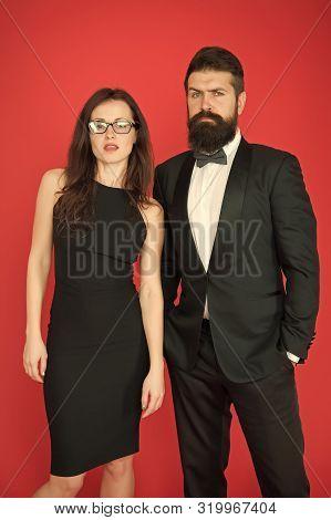 Formal Dress Code. Official Event Concept. Man Bearded Wear Tuxedo Girl Elegant Dress. Visiting Even