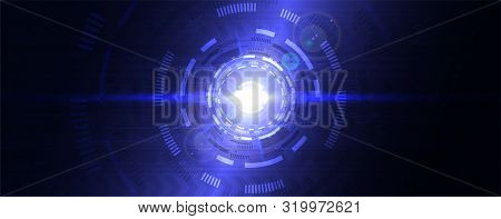 Digital Abstract Lens Flare Space, Science Fiction Time And Space Travel Cosmic Background. Round Fu