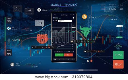 Mobile Stock Trading With Candlestick And Financial Graph Charts On Screen. Futuristic Background Wi