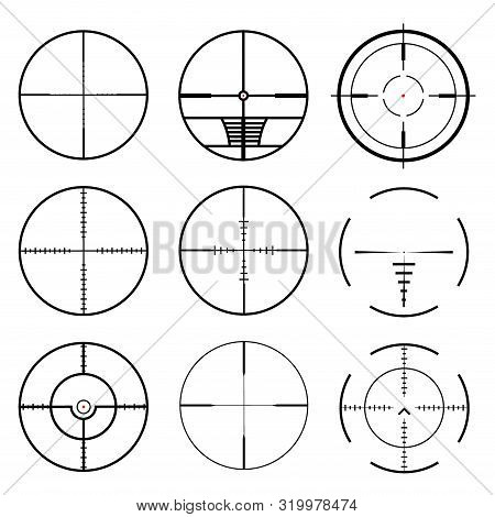 Set Of Target Icons Sight Sniper Symbo. Crosshair And Aim Vector Illustration