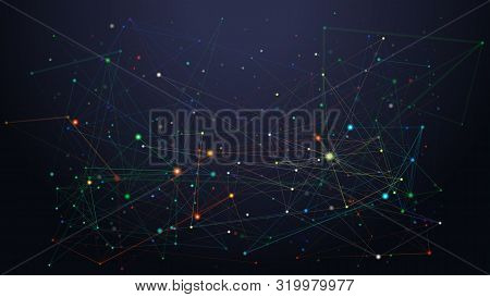 Abstract Dark Low Poly Art Illustration. 3d Polygonal Cybernetic Particles Background. Digital Data