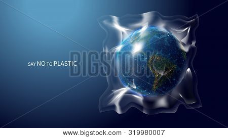 Say No To Plastic Low Poly Banner Template. 3d Polygonal Earth Globe. Planet Covered With Plastic Co