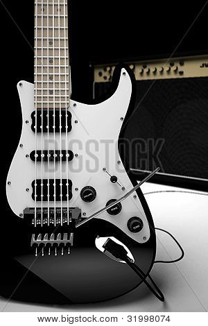 Electric guitar with amplifier in the background