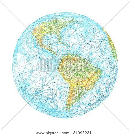 Earth Globe Low Poly Illustration. 3d Polygonal World Map. Travelling Concept Art With Connected Dot