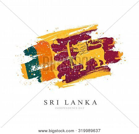 Flag Of Sri Lanka. Vector Illustration On A White Background. Brush Strokes Are Drawn By Hand. Indep