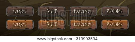 Video Game Buttons: Start, Quit, Restart, Resume. Vector Ubjects. Game Ui.