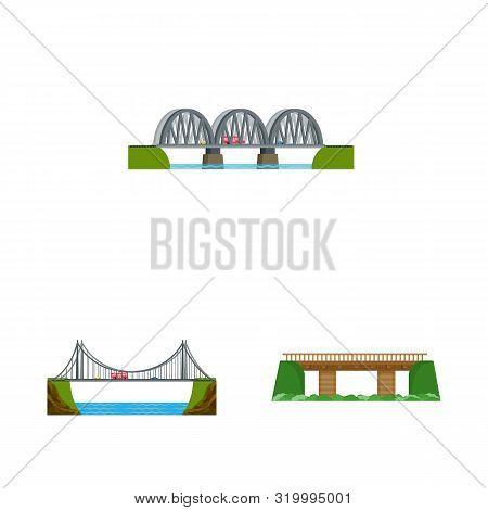 Isolated Object Of Bridgework And Bridge Icon. Set Of Bridgework And Landmark Vector Icon For Stock.