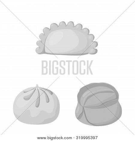 Isolated Object Of Dumplings And Stuffed Sign. Set Of Dumplings And Dish Vector Icon For Stock.