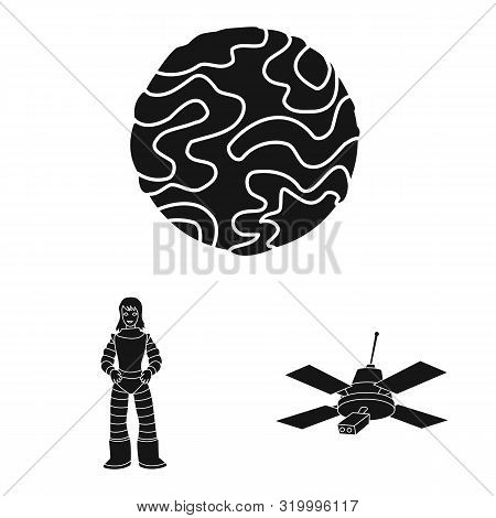 Vector Design Of Colonization And Sky Symbol. Collection Of Colonization And Galaxy Stock Symbol For