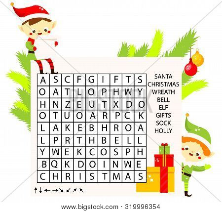 Educational Game For Children. Christmas Word Search Puzzle Kids Activity. New Year Theme Learning V
