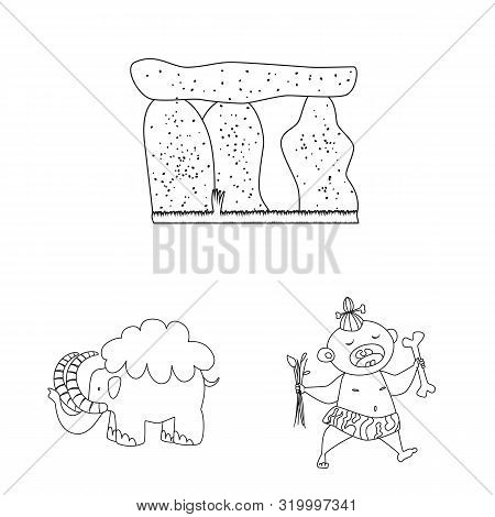 Vector Design Of Primitive And Archeology Symbol. Set Of Primitive And History Stock Symbol For Web.
