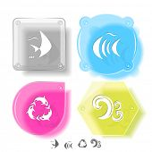 Animal icon set. Killer whale, fish, wave.  Glass buttons. Raster illustration. poster
