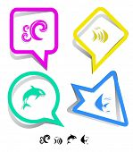 Animal icon set. Fish, Killer whale, wave.  Paper stickers. Vector illustration. poster